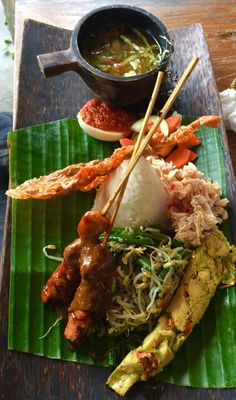 "Nasi Campur Bali ""mixed rice"" http://hubz.info/110/i-could-be-scared-to-walk-on-that"
