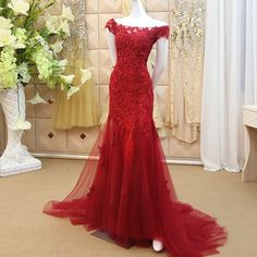 Dubai Kaftan Appliques Lace Beaded Evening Dresses Long 2016 Mermaid Burgundy Prom Dress Formal Evening Gowns