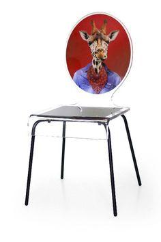 Chaise verre acrylique Graph pieds métal girafe - Acrila