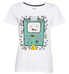 Womens White Adventure Time Flowers T-Shirt With BMO surrounded by Finn, Jake amongst some delicate, pretty flowers, this is a super-sweet, quirky take on all the things we love about Adventure Time! http://www.MightGet.com/february-2017-3/womens-white-adventure-time-flowers-t-shirt.asp