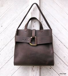 2014 Mustang Oiled Cowhide Leather Rustic Harness Tote in Brown by Stacy Leigh Made to Order