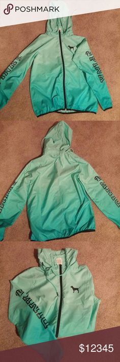 SALE TODAY ONLY VS PINK Anorak Wind Breaker Reduced from $79. Victoria's Secret PINK Anorak wind breaker, ombre teal blue/green. Zipper around collar so u can hide the hood. Like new. Excellent condition, no flaws. Worn twice. Size XS, will fit up to medium. Sold out in stores. PINK Victoria's Secret Jackets & Coats