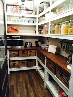 We designed and built this pantry to look like it belonged in an old-fashioned farmhouse.  #Farmhouse #pantry