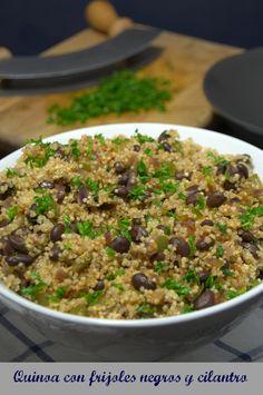 Quinoa con frijoles negros y cilantro #Receta