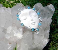 Essential oil Moon face necklace with blue swarovski by Krystalins, $16.00