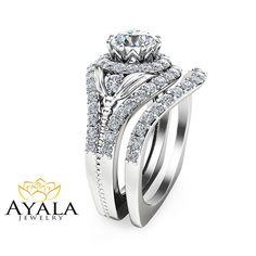 Unique Diamond Bridal Set 14K White Gold Engagement Rings Art Deco Bridal Ring Set