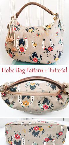 Diy Tote Bag, Diy Purse, Tote Purse, Hobo Bag Tutorials, Hobo Bag Patterns, Toddler Sewing Patterns, Diy Fashion Projects, Bag Pattern Free, Diy Handbag