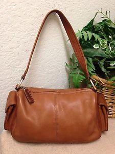 Fossil Vintage Brown Tan Pebble Leather Shoulder Handbag Satchel Bag Er Soft Ebay