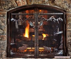 23 Fireplace Screens For The Cabin Ideas Fireplace Screens Fireplace Cabin Decor