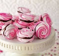 French Meringues with Strawberry Ganache Filling.