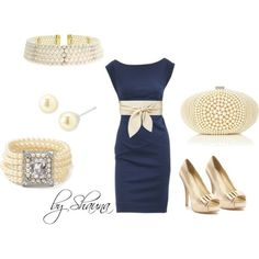 Navy blue and pearls !  So pretty to wear to a wedding!