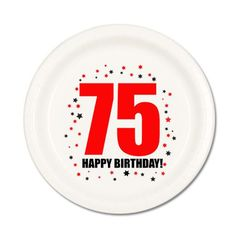 75th BIRTHDAY DESSERT PLATES 8 Pk Small Lunch Plate Birthday Party Supplies T75