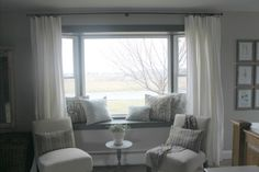Long curtains for small bay window