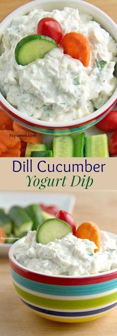 Creamy Dill Cucumber Yogurt Dip - a big hit at parties as an appetizer, or a…