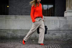"""Photo by Adam Katz Sinding for W mag.""""I was dressed in Ganni from head to toe combining a splash of red with a soft kamel suit."""""""