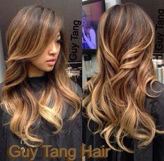 Balayge highlights on dark hair