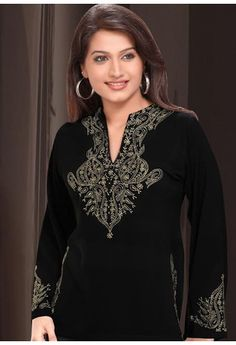 Black Faux Georgette Embroidered Tunic