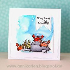 Sunny Studio Stamps Oceans of Joy Sorry I Was Crabby Crab Card
