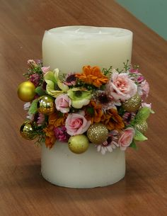 Create the illusion of flowers in a candle with this gorgeous centerpiece.