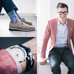 Thread Etiquette Maverick Watch, Thread Etiquette Yachtmaster Navy Anchor Bracelet, Levi's® 511, Cole Haan Suede, Topman Lobster, Asos Herringbone Blazer, Indochino Shirt, Pocket Square Clothing The Azalea Pocket Square, Warby Parker Glasses, Perry Ellis
