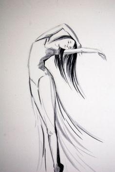 Dancing Woman Drawing Ballerina Dancer Figurative by CanotStop