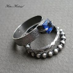CUBIST COBALT MIX - SILVER STACKABLE RINGS WITH ZIRCON