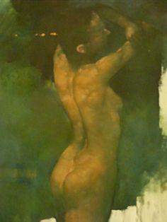 Artist: Bill Bate; Liverpool, England {contemporary figurative discreet nude female posterior back of woman painting #NSFW} http://billbate.co.uk