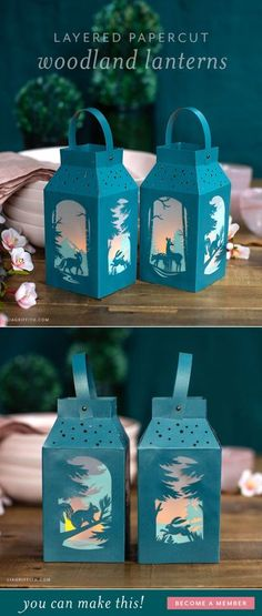 One of my favorite things about these woodland paper lanterns is all of the little details. Each window shows a different winter woodland scene! Paper Flower Patterns, Paper Flower Tutorial, Craft Patterns, Diy Paper, Paper Crafts, Paper Party Decorations, How To Make Lanterns, Diy Artwork, Paper Roses