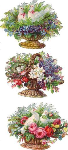 Flowers & Doves in Wicker Basket