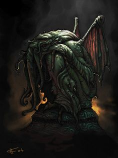 """It's well known that the great Cthulhu has a particular bond with artists of all sorts. Lovecraft's """"The Call of Cthulhu"""" it's docu. Lovecraft Cthulhu, Hp Lovecraft, Arte Horror, Horror Art, Yog Sothoth, Call Of Cthulhu Rpg, Lovecraftian Horror, Eldritch Horror, Famous Monsters"""