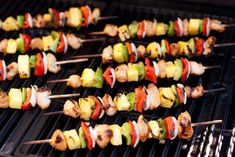 Feast your eyes on the perfect summer dinner. These Grilled Chicken Kebobs are so tantalizingly delicious! Tender chicken, lightly charred fruit and veggie Grilled Teriyaki Chicken, Homemade Teriyaki Sauce, Healthy Eating Recipes, Pinterest Recipes, Yummy Food, Yummy Recipes, Favorite Recipes, Grilling, Canapes