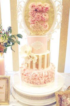 Cake from a Pink & Gold Princess Party via Kara's Party Ideas | KarasPartyIdeas.com (17)