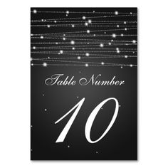 Table Number Sparkling Lines Black Table Card