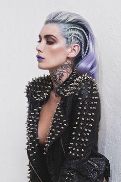 pastel goth princess gothic studs black leather jacket spikes tattooed tattoos ink girl hot purple hair grunge peaks grunge soft grunge pastel shades make up lipstick