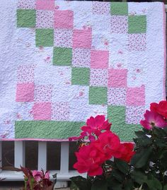 Shabby Chic Garden Baby Quilt Unique Baby Gift by littleashleighs, $50.00