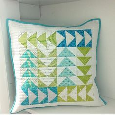 Quilted flying geese cushion by Mia (@mlrdesigns) on Instagram