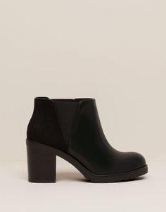 Pull Bear - zapatos - novedades - botín tacón elástico - negro -  11095111-V2016 Botas f6e64b70598