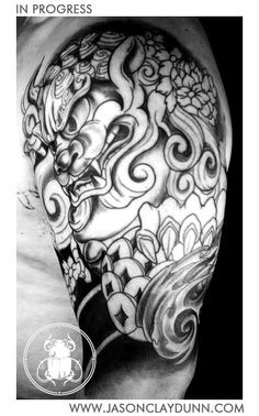 This Foo Dog tattoo resembles both a lion and a dog. More specifically, it looks like a lion with pointed ears. They are said to be protective, strong, and courageous.