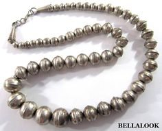 "VINTAGE OLD PAWN STERLING SILVER GRADUATED BENCH BEAD NECKLACE 18"" LONG 23.1g"