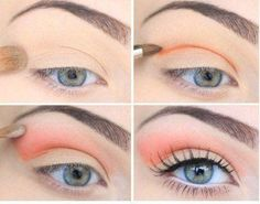 Coral makeup eye shadow with orange in the crease, but can use any colour, light and neutral.