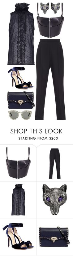 """Midnight"" by cherieaustin ❤ liked on Polyvore featuring Fleet Ilya, Delpozo, Andrew Gn, Gucci, Alexandre Birman, Valentino and Yves Saint Laurent"