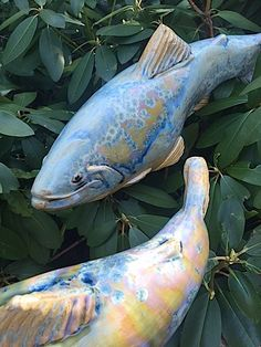 Blue Garden Trout- Beautiful ceramic and stainless steel sculptures by Maine artist Tyson M. Weiss that deliver a fluid aesthetic to your home and garden.