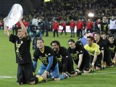 Borussia Dortmund secured their second consecutive title and celebrated in typically strange German fashion.