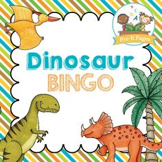 Free printable bingo game for a dinosaur theme in your preschool, pre-k, or kindergarten classroom. Includes both a black and white and a color version! - Pre-K Pages Kindergarten Classroom Games, Dinosaur Classroom, Dinosaur Theme Preschool, Dinosaur Activities, Dinosaur Crafts, Preschool Themes, Owl Classroom, School Classroom, Toddler Activities