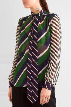 Mary Katrantzou - Veddar Pussy-bow Printed Silk-georgette Blouse - Green - UK