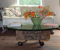 Build your own coffee table in under an hour (projects, crafts, DIY, do it yourself, interior design, home decor, fun, creative, uses, use, ideas, inspiration, 3R's, reduce, reuse, recycle, used, upcycle, repurpose, handmade, homemade, wooden, crate, glass top, tea, industrial wheels, old, retro, vintage)