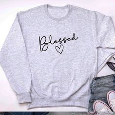 winter outfits for church Blessed Sweatshirt Christian Clothing, Christian Shirts, Christian Apparel, Sweaters For Women, T Shirts For Women, Clothes For Women, Smart Casual Work Outfit, Jesus Clothes, Smart Women