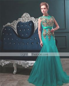 Formal Evening Dress Trumpet / Mermaid Bateau Floor-length Tulle with Appliques / Pearl Detailing / Sash / Ribbon   4526194 2017 –  $149.99