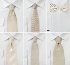 Ties for your groom and groomsmen. Neutral wedding colors.