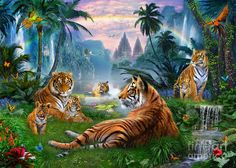 Temple Lake Tigers Digital Art  - Temple Lake Tigers Fine Art Print